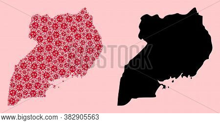 Vector Outbreak Mosaic And Solid Map Of Uganda. Map Of Uganda Vector Mosaic For Outbreak Campaigns A