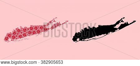 Vector Sars Virus Mosaic And Solid Map Of Long Island. Map Of Long Island Vector Mosaic For Medicine