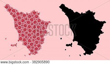 Vector Virus Mosaic And Solid Map Of Tuscany Region. Map Of Tuscany Region Vector Mosaic For Medicin