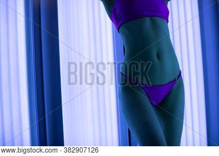 Woman Solarium. Woman Body. Fit Body. Sensual Body.