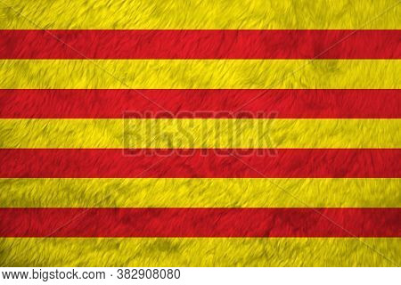 Towel Fabric Pattern Flag Of Catalonia, Crease Of Catalunya Flag Background. The Red Stripe On Golde