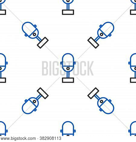 Line Microphone Icon Isolated Seamless Pattern On White Background. On Air Radio Mic Microphone. Spe