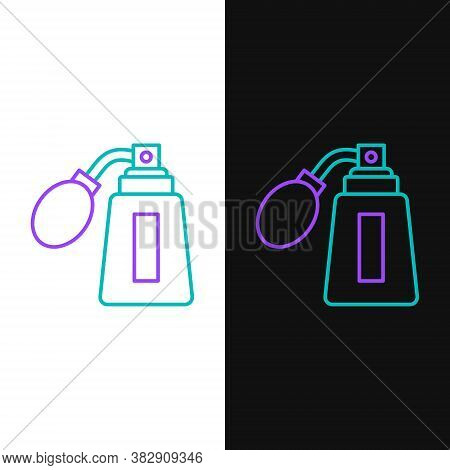 Line Aftershave Bottle With Atomizer Icon Isolated On White And Black Background. Cologne Spray Icon