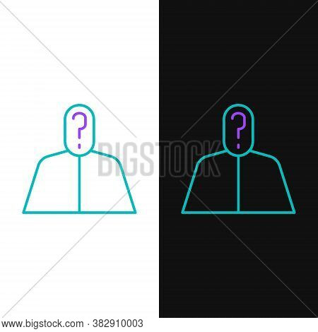 Line Anonymous Man With Question Mark Icon Isolated On White And Black Background. Unknown User, Inc