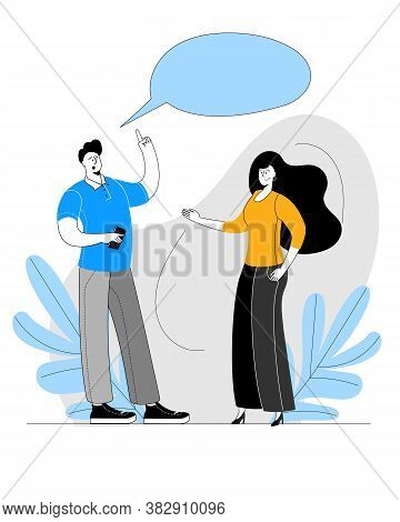 A Man And A Woman In Modern Clothes Are Talking. Vector Illustration On The Theme Of Mutual Understa