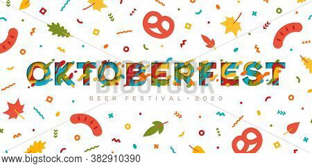 Oktoberfest Papercut Typography Banner Or Poster With Autumn Leaves, Confetti, Pretzel And Sausage.