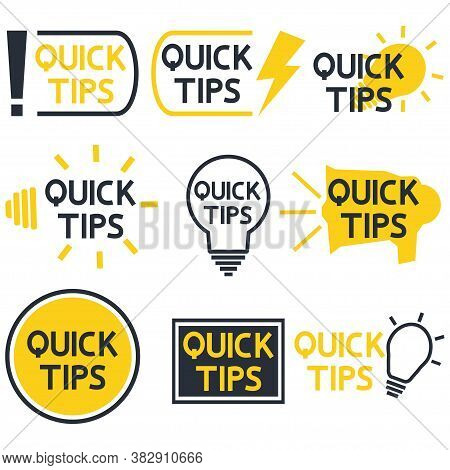Quick Tips. Yellow And Black Color Icon With Quicks Tip Text. Helpful Idea, Solution And Trick Illus
