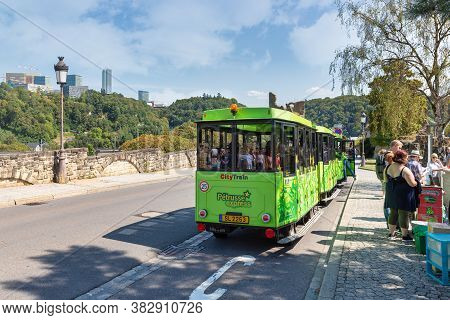 Luxembourg City, Luxembourg - August 18, 2018: People Buying Tickets For Drive With Citytrain Throug