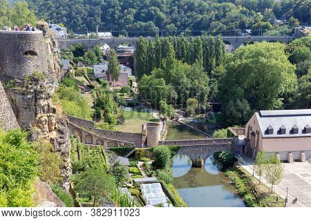Luxembourg City, The Capital Of Grand Duchy Of Luxembourg, Aerial View At Old Medieval Casemates And