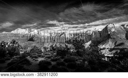 Black And White Photo Of Mt. Kinesava And The West Temple In Zion National Park In Utah, Usa During
