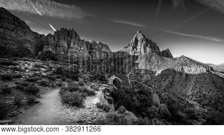 Black And White Photo Of Reaching The End Destination Of The Watchman Hiking Trail In Zion National