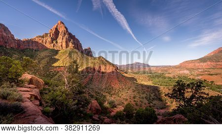 Sunrise Over The Watchman Peak And The Virgin River Valley In Zion National Park In Utah, Usa, Durin