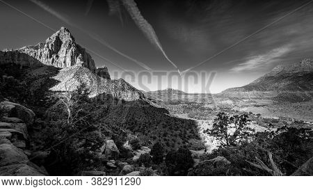 Black And White Photo Of The Watchman Peak And The Virgin River Valley In Zion National Park In Utah