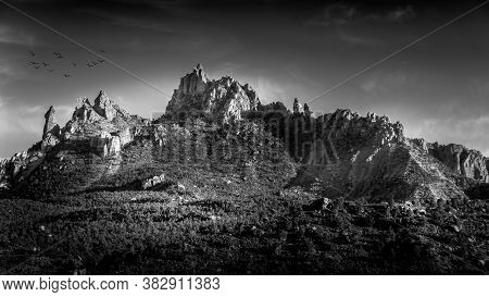 Black And White Photo Of Sunset Over Eagle Crags West Mountain Just South Of Zion National Park In U