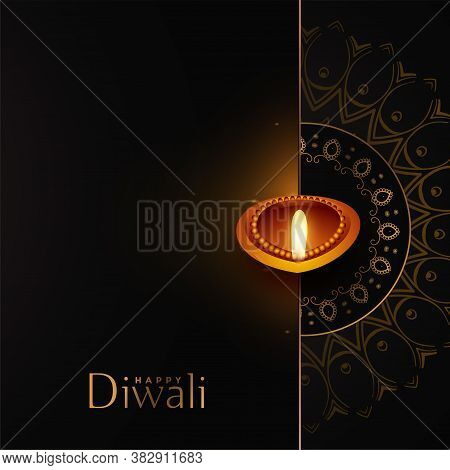 Happy Diwali Black And Gold Background Design