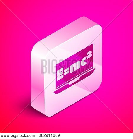 Isometric Math System Of Equation Solution On Laptop Icon Isolated On Pink Background. E Equals Mc S