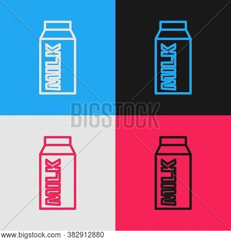 Pop Art Line Paper Package For Milk Icon Isolated On Color Background. Milk Packet Sign. Vector