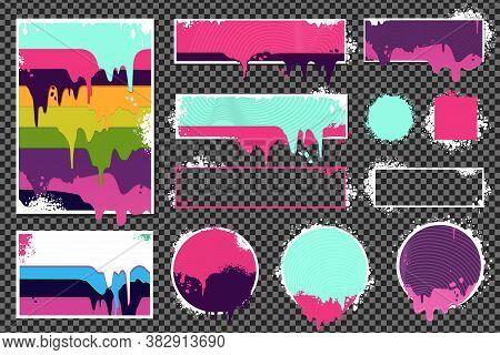 Web Banners Set With Oil Paint Splashes. Graffiti Style Borders Set On Isolated Background. Grunge V