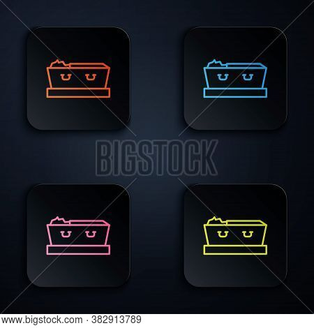 Color Neon Line Open Coffin With Dead Deceased Body Icon Isolated On Black Background. Funeral After