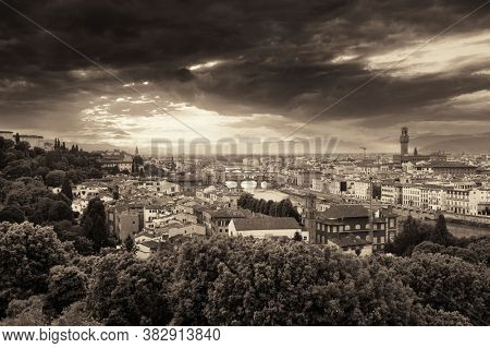 Florence skyline viewed from Piazzale Michelangelo black and white