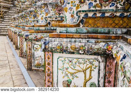 Detail Of Wat Arun Temple Decorated With Colorful Tiles And Floral Patterns, Bangkok, Thailand