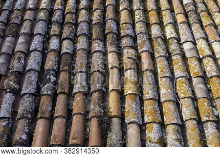 Aerial View Of Some Clay Tiles Worn By Time A Succession Of Clay Tiles Seen From Above