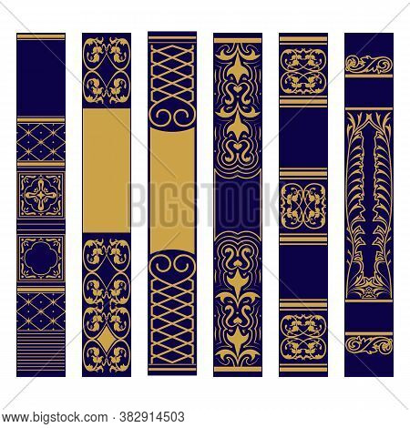 Vertical Ornament Set. Samples Of Spines Or Roots Of The Book. Ornate Gold And Blue Pattern.