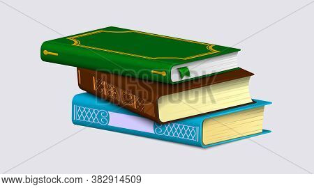 A Stack Of Books Isolated On A White Background. Colorful Patterned Spines And Bookmarks On Realisti
