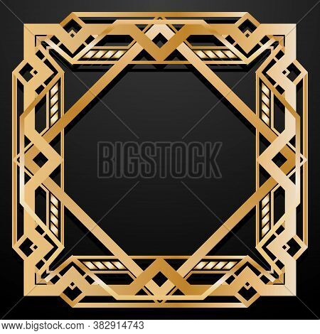 Luxury Square Retro Pattern For Vintage Party Gatsby Style. Art Deco Frame. Gold Geometric Backgroun