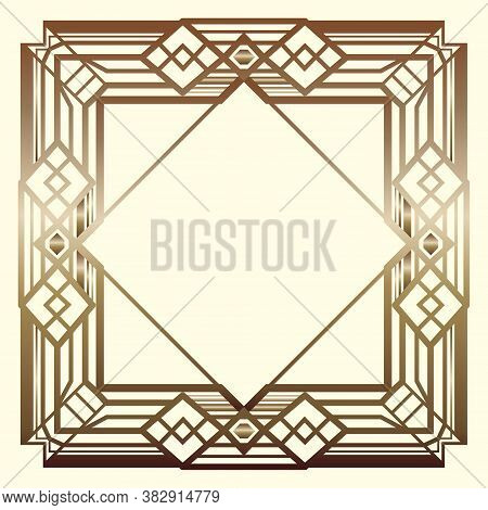 Magnificent Square Retro Design For Vintage Party Gatsby Style. Art Deco Frame. Gold Geometric Backg
