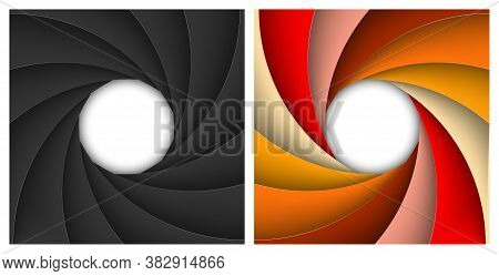 Set Of Square Shutter Aperture. Classic Black And Multicolor Backgrounds Isolated On A Transparent B