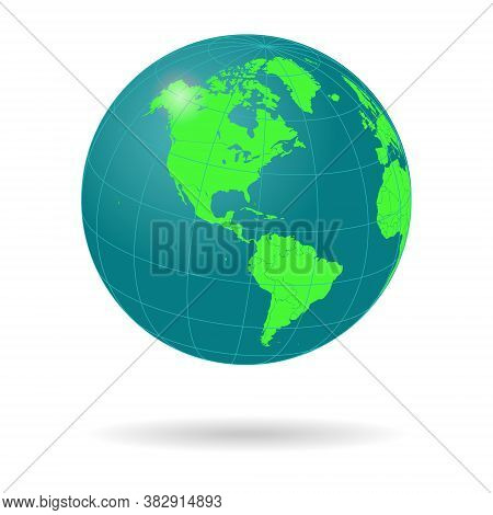Globe. Blue And Green World Map Mapped On A 3d Sphere. Isolated On Transparent Background.