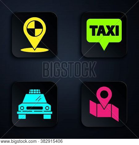 Set Folded Map With Location Marker, Map Pointer With Taxi, Taxi Car And Map Pointer With Taxi. Blac