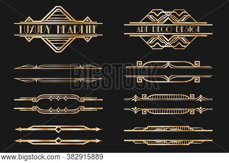 Set Of Art Deco Page Headers. Patterns, Ornaments In Artdeco Style. 1920s Vintage Gold Dividers, Old