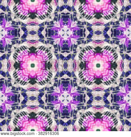 Rainbow Summer Pattern.  Indigo And Pink Textile Print. Asian Backdrop.  Multicolor Natural Ethnic I