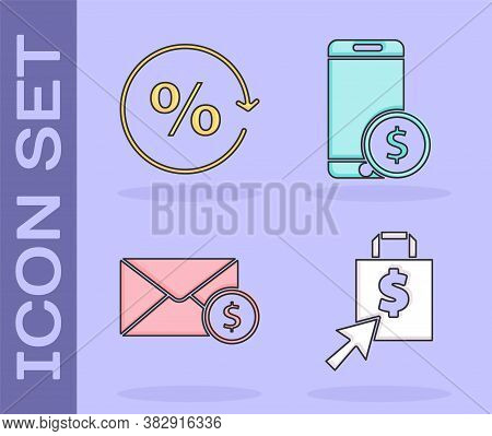 Set Shoping Bag And Dollar, Discount Percent Tag, Envelope With Coin Dollar And Smartphone With Doll