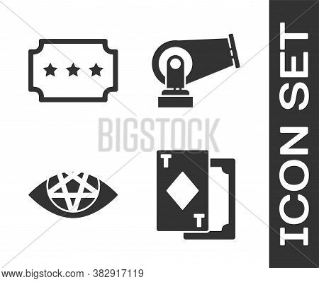 Set Playing Cards, Ticket, Pentagram And Cannon Icon. Vector