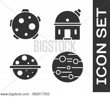 Set Planet Mars, Planet, Planet Saturn And Astronomical Observatory Icon. Vector