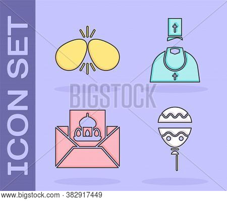 Set Balloons With Ribbon, Easter Eggs, Greeting Card With Happy Easter And Priest Icon. Vector