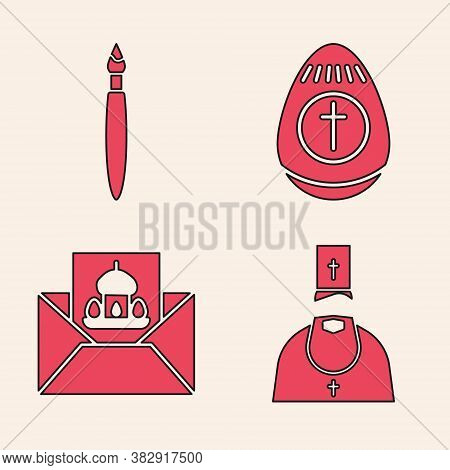 Set Priest, Paint Brush, Easter Egg And Greeting Card With Happy Easter Icon. Vector