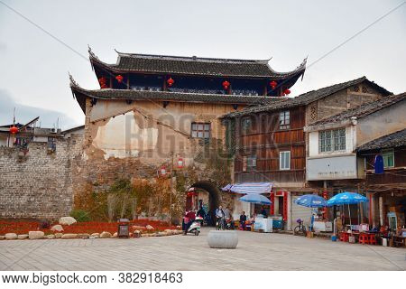 FUJIAN, CHINA – MARCH 2, 2018: Street view with historic architecture in Changting city in Fujian, China.