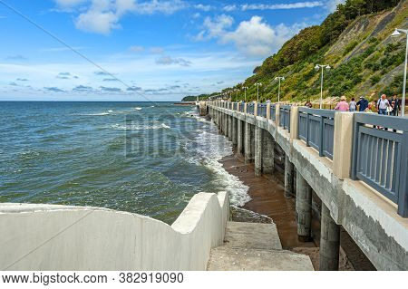 Svetlogorsk, Russia - July 23, 2019: View Of Baltic Coastline And Promenade At The Famous Baltic Res