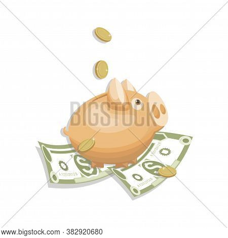 Piggy Bank. Money, Gold Coins. Cash Collecting Billfold On White Background. American Bill, Currency