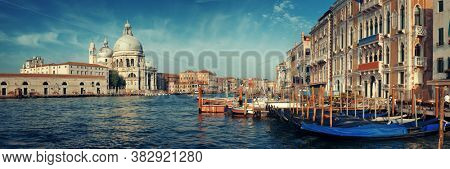 Waterfront view of Venice  Church Santa Maria della Salute and canal panorama in Italy.