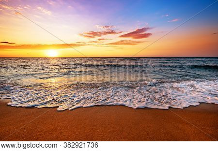 Sky Background On Sunset. Nature Composition! Golden Sands
