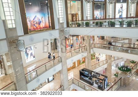 Taipei, Taiwan - May 12th, 2019: interior of the commercial in Taipei 101 Shopping Mall, One of the most luxurious shopping center in Xinyi District in Taipei, Taiwan, Asia
