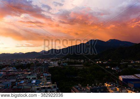 Puli, Taiwan - July 11th, 2020: sunset cityscape of Puli town cityscape at Nantou, Taiwan, Asia