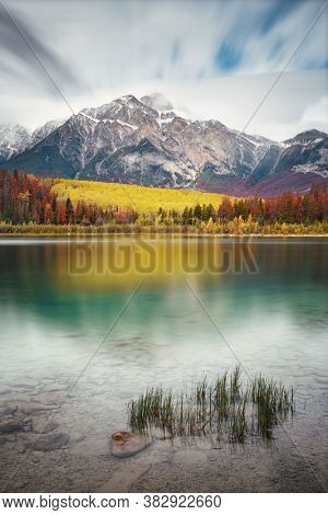 Pyramid Lake in Jasper National Park in Canada