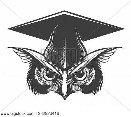 Owl In Bachelor Hat Tattoo Drawn In Engraving Style. Vector Illustration.