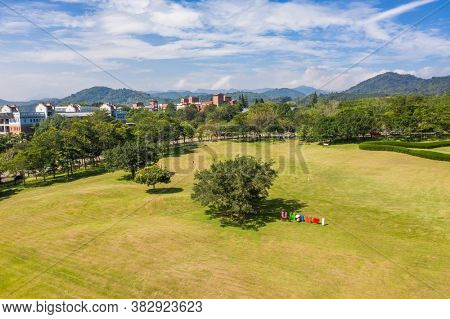 Puli, Taiwan - October 6th, 2019: aerial view of National Chi Nan University, Nantou county, Taiwan, Asia